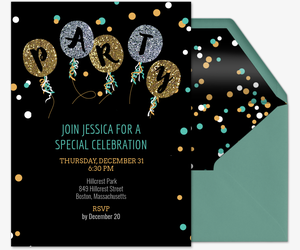 Glitter Balloon Party Invite Invitation