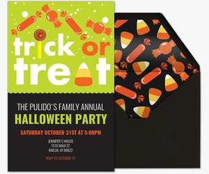 Trick or Treat Candy Invite Invitation