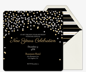 Holiday Sparkle Black Invitation