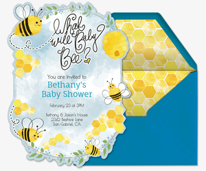 Online baby shower invitations evite what will baby bee invitation filmwisefo Choice Image