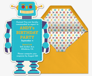 Invitations free ecards and party planning ideas from evite robot invite invitation filmwisefo Images