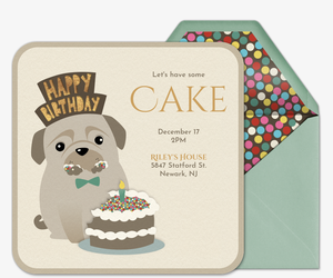 Invitations free ecards and party planning ideas from evite dog eating cake invitation filmwisefo
