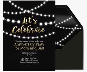 Online wedding anniversary invitation wrsvp tracker evite string lights invite invitation stopboris Image collections