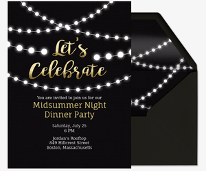 Nice String Lights Invite Invitation For Dinner Party Invitation Templates Free