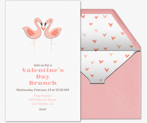 Valentine Flamingos Invitation