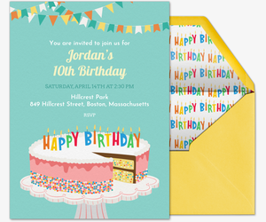 Free kids birthday invitations online invites for children birthday cake sprinkles invite invitation filmwisefo Image collections