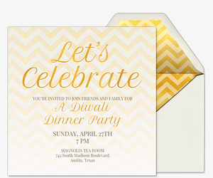 Online diwali party invitations evite golden chevron invitation stopboris Choice Image