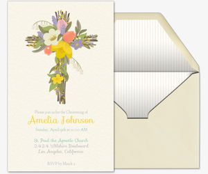 Floral Spring Cross Invitation