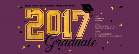 2017 Graduate Purple Invitation