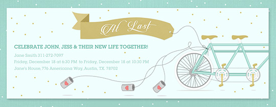 At Last Bicycle Invitation