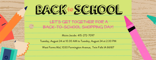 Online back to school party for children invitations evite back to school desk invitation stopboris Image collections