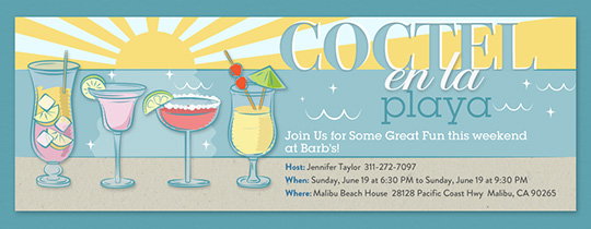 Beach Cocktail Party Spanish Invitation