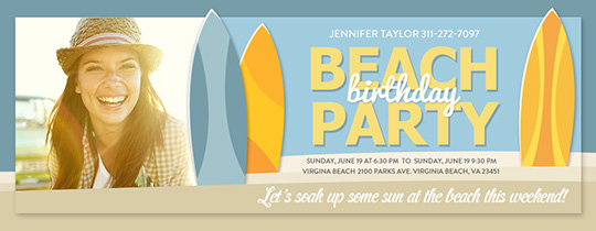 Beach Surf Birthday Invitation