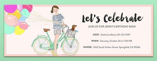 Birthday Bicycle Invitation