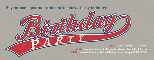 Birthday Party Baseball Swoosh Invitation