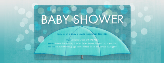 Blue Umbrella Invitation