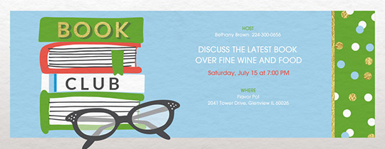 Share A Good Book Invitation