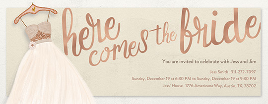 Bridal Gown Invitation · Free  Free Bridal Shower Invitations Templates
