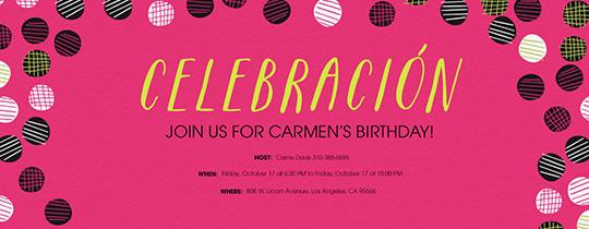 Celebracion Dots Pink Invitation