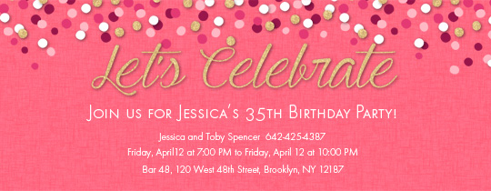 Birthday party invitations for her evite confetti pink invitation filmwisefo Images