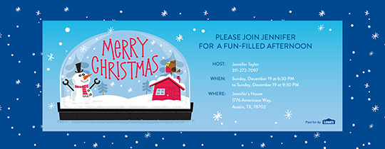 Snow Globe Christmas Invitation