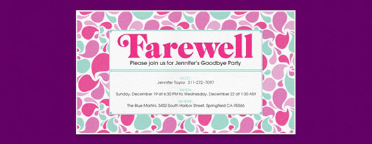 Retirement Farewell free online invitations – Goodbye Party Invitation Wording