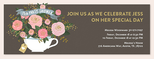 Floral Tea Cup Shower Invitation