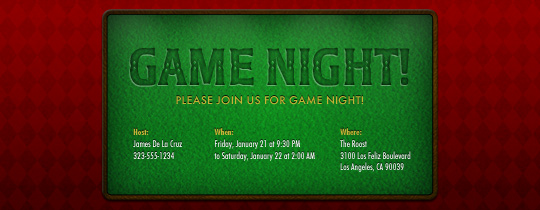 Game Table Invitation