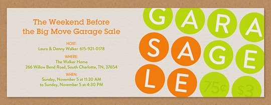Garage Sale Invitation