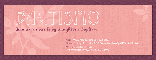 Girl Baptism Invitation