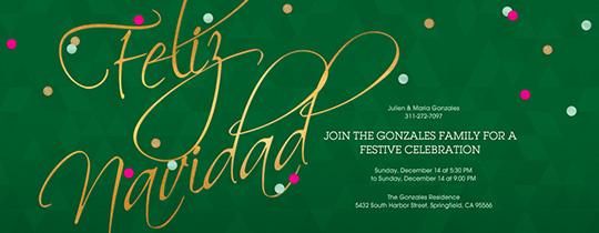 Golden Navidad Invitation