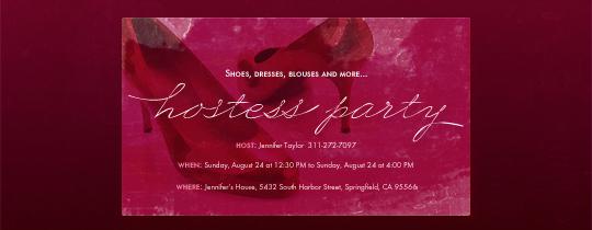 Hostess Heels Invitation