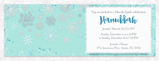 Icy Snowflakes Hanukkah Invitation