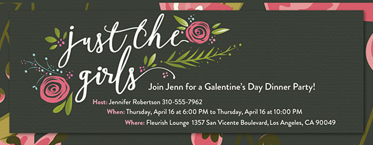 Just the Girls Valentines Invitation