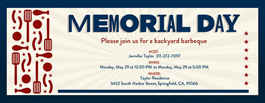 Memorial Day Grill Invitation