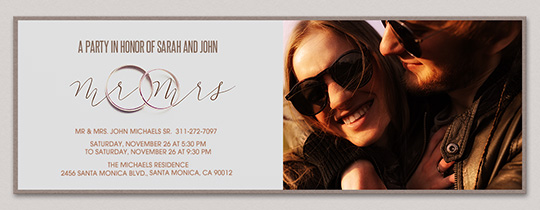 Mr and Mrs Wedding Bands Invitation