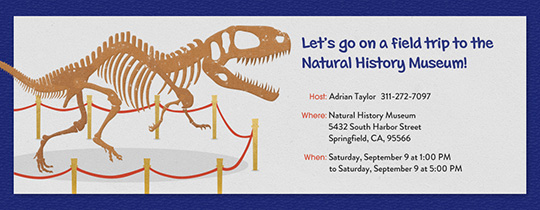 Natural History Museum Invitation
