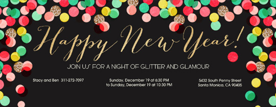 New Year Confetti Invitation