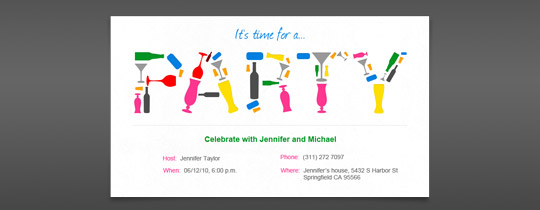 Party Glasses Invitation
