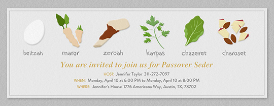 Passover Plated Invitation