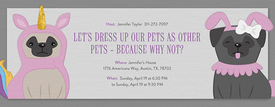 Pet Unicorn Invitation