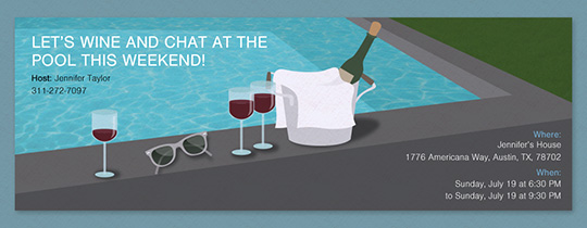Pool and Wine Invitation