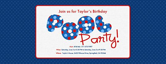 Pool Polka Dots Invitation