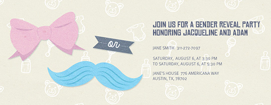 stache or bow invitation - Gender Reveal Party Invites