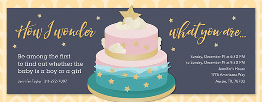 Star Gender Cake Invitation