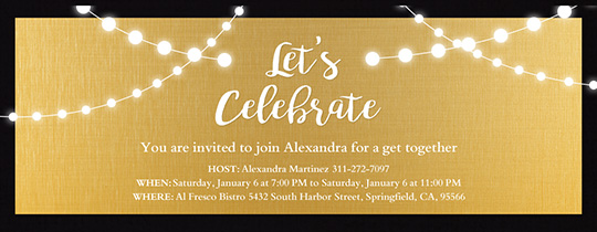 happy new year fireworks string lights gold invitation