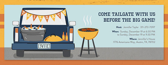 Tailgating party online free invitations for Design your own food truck online