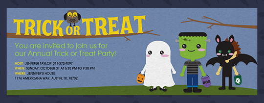 Trick or Treat Owl Invitation