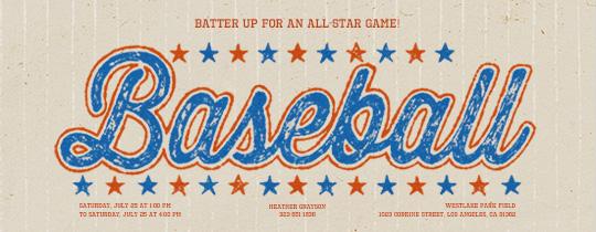Vintage Baseball Invitation