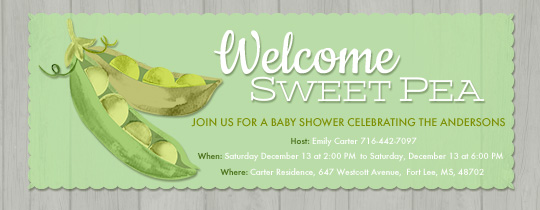 Welcome Sweet Pea Invitation